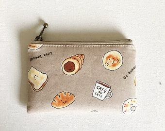 mini zipper pouch  -bread
