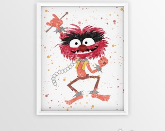 The Muppets, Animal of The Electric Mayhem, Poster, Wall Hanging, Watercolor Painting Effect, Kids Nursery, muppet show, muppet print,animal