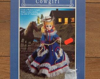 1991 Crochet pattern Fibre Craft COWGIRL for 15 inch fashion Doll fiber craft