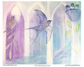 The Sanctuary of God - Song Birds & Sparrows - Bird Nest - Children's Room Nursery Art - Inspirational Art Print - by Lisa MD Skinner