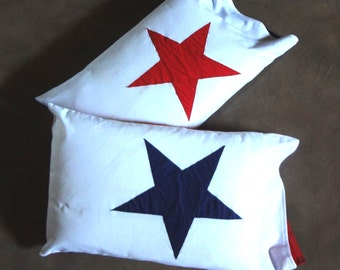 Star pillowcases Panama flag red white and blue July 4 decorate bed picnic outdoor beach cottage patriotic celebrate summer season