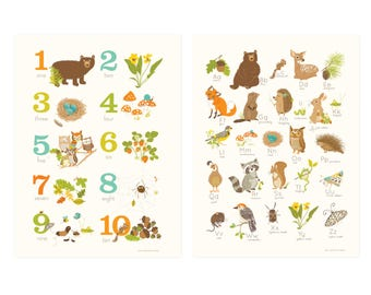 ABC 123 Woodland wall art set - Forest nursery art for kids and baby