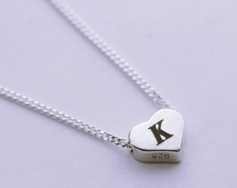 Sterling Silver Heart Necklace. Small silver Heart with initial on Sterling silver Chain, Teen, Girl Gift. Every day wear, Delicate, Simple