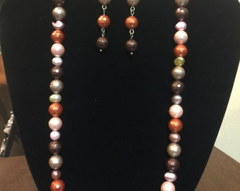 Fall Color Acrylic Pearl Necklace & Earring Set