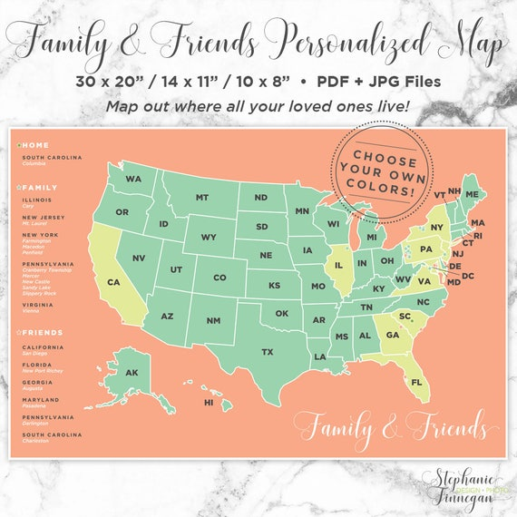 Personalized Map United States Map US Map Long Distance