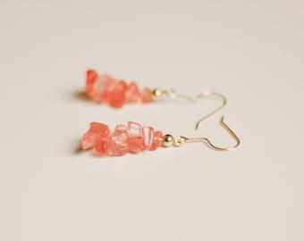 Pink rose quartz chip dangle earrings, rough raw semi precious gemstone + gold beads, cherry quartz, graduated, rock candy, crystal, glass
