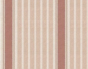 Quarter Scale, Half Scale and 1:44 Scale Miniature Rose Stripe Dollhouse Wallpaper (1A)