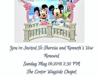 100 Personalized Mickey Wedding Invitations Set RSVP