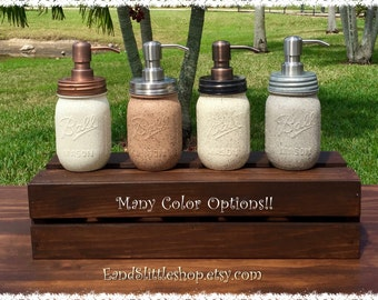 Stone Textured Mason Jar Soap Dispenser-Rustproof Stainless Soap Pump & Lid-Rustic-Farmhouse Decor-Housewarming gifts-Mediterranean Decor