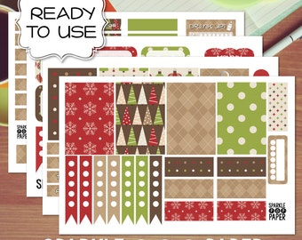 Boughs of Holly Christmas Weekly Layout Stickers for MAMBI Happy Planner