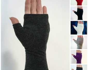 Bamboo wrist warmers, fingerless gloves.