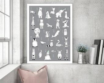 Nursery Decor Alphabet Animal Poster,Alphabet Children Art,ABC Kids Nursery,ABC Decor Baby Room,ABC Boys Girls Nursery,Animal Poster,Kid abc