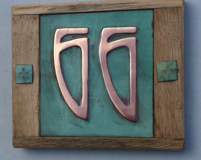 "Art Nouveau Copper and Oak Plaque 3""/75mm, 4""/100mm , 2 x nos. Patinated, polished and laquered g"