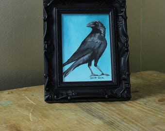 "Original Oil Painting - Crow Art 5x7"" (5"" x 7"") Oil on Canvas panel - Crow Raven Corvid Bird Animal"