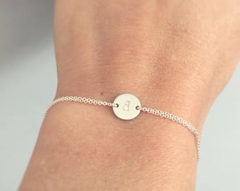 Sterling silver bracelet, Initial bracelet, monogram bracelet, dainty bracelet - friendship bracelet, wedding accessory, everyday jewelry