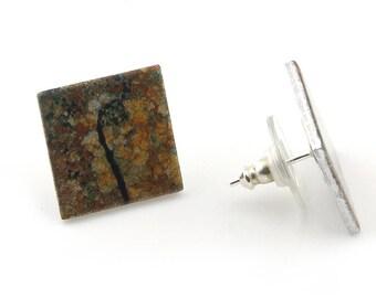 Sterling Silver Lichen Square Earrings