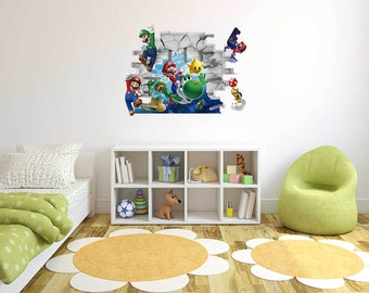 Mario and friends - 3D Wall Effect -  Wall Decal For Home Nursery Decoration