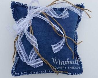 Denim Lace Ring Bearer Rag Pillow, Country Wedding, Rustic Denim Blue Jean Wedding