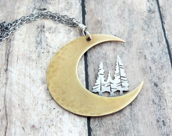 Crescent Moon Necklace - Pine  Tree Necklace - Nature Jewelry - Celestial Jewelry - Mixed Metal Necklace - Gift for Outdoor Woman