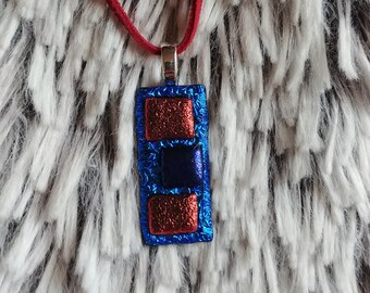 Red and Blue Squares Fused Dichroic Glass Pendant
