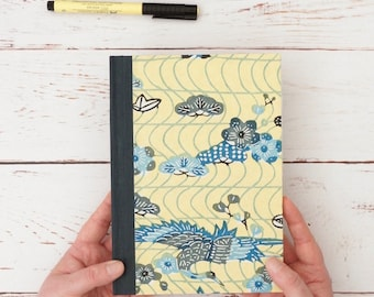 Handmade notebook and diary for dreamers and writers. Journal in yellow and blue Japanese paper. Gifts for novelists or poets.