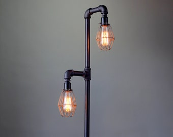 Pipe Floor Lamp - Industrial Floor Lamp - Edison Bulb - Standing Lamp - Bulb Cage - Modern Lamps