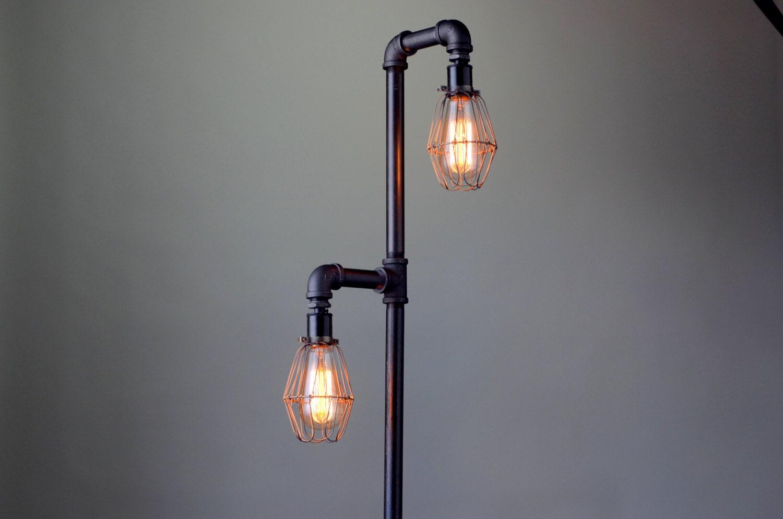 pipe floor lamp  industrial floor lamp  edison bulb  standing lamp bulb cage. torchiere floor lamp copper shade industrial floor lamp