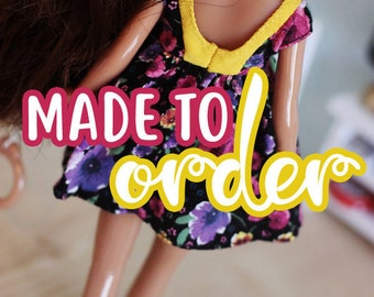 MADE TO ORDER - Summer dress with fancy inlay for Blythe doll - by Icantdance