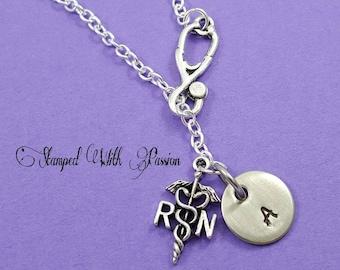 Lariat Nurse Hand stamped Necklace, RN Necklace,  Necklace Nurse Gift, Nurse's Day, Nurse Gift, RN Gift