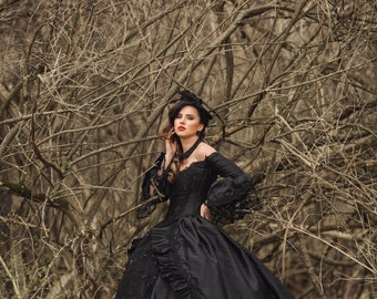 Sale In Stock! Black Sparkle Marie Antoinette Victorian Gothic Wedding Upscale Costume Gown & Hat Small