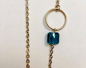 Necklace with mini ring and Crystal beads