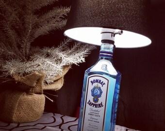 Bombay Sapphire Gin Recycled Liquor Bottle Lamp Light - Man Cave Light - Bar Light - Birthday - gift for him her - Drink Decor