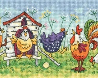 Heritage Crafts - Happy Hens Cross Stitch Kit from the Birds of a Feather by Karen Carter