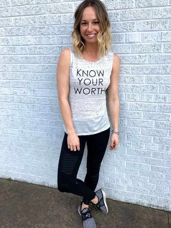 Know Your Worth - Women's Empowerment Muscle Tank: White Marble