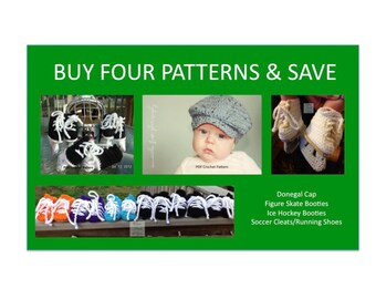 Instant Download - Buy Donegal Cap - Hockey Skates - Figure Skates - Soccer Cleats Crochet Patterns together and Save