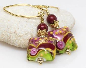 Burgundy and Lime Murano Glass Earrings, Multicoloured, Lampwork Earrings, Gold Earrings, Gift For Her