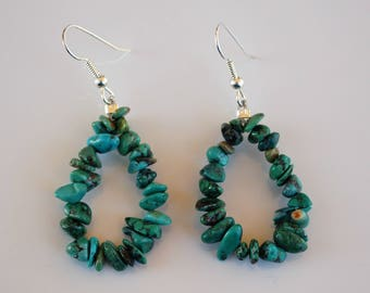 Native American Santo Domingo green Turquoise Sterling Silver Earrings Chimney Butte