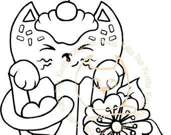Digi Stamp Instant Download. Cupcake Kitty - Knitty Kitty Digis No.48