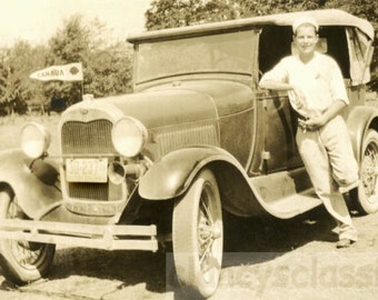 vintage photo 1930s Young Man British Columbia Plates CANADA Pennant on Car
