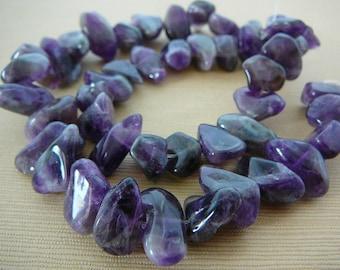 Amethyst Gemstone, Large Smooth Nugget, Purple, half strand beading supplies jewelry supply