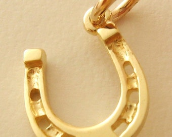 Genuine SOLID 9K 9ct YELLOW GOLD Good Luck Horse Shoe charm/pendant