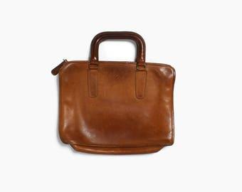 Vintage 70s COACH Purse / 1970s New York City Gray Leather Slim Satchel Briefcase Bag