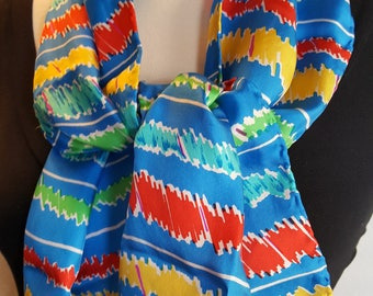 Scarf / Pure Silk / Blue Multi / Silk Long / Hand Rolled Vintage / Long Blue Scarf / Stripes / Very Pretty Colors