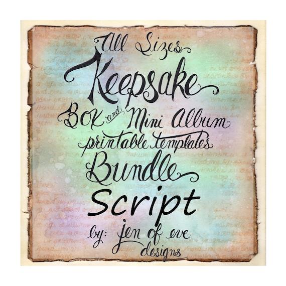 ALL SIZES Keepsake Box & Mini Album Printable Template Bundle in Script and Plain