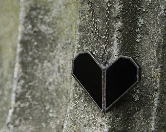 Black heart necklace, gothic jewelry, witch jewelry, occult jewelry, goth jewelry, witch necklace, wiccan jewelry, wicca necklace, black