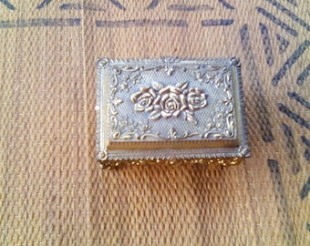 Vintage Gold Tone Floral Rose Music Box with Legs