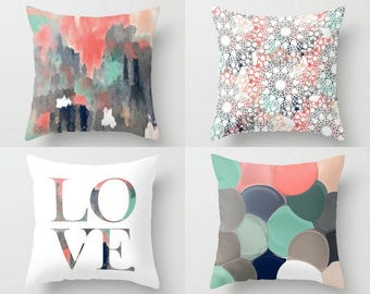 Coral Navy Pillow Covers, Decorative Pillow Covers, Home Decor, Throw Pillow Cover, Coral Navy Aqua mint Teal White Blush Grey