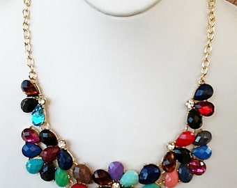 Multi Colored and Clear Crystal Statement Necklace with Gold Chain / Bib Necklace.