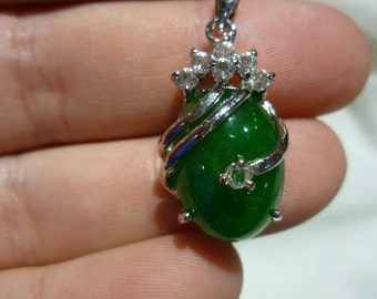 C90 Vintage 8K Gold Plated Green Stone Pendant with CZ's.