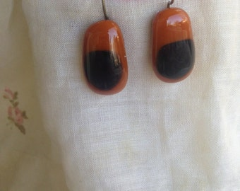 brown and blue fused glass earrings